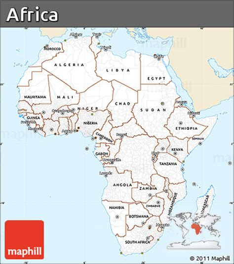 africa map easy free classic style simple map of africa single color outside