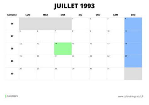 Calendrier De 1993 Calendrier De Juillet 1993 224 Imprimer