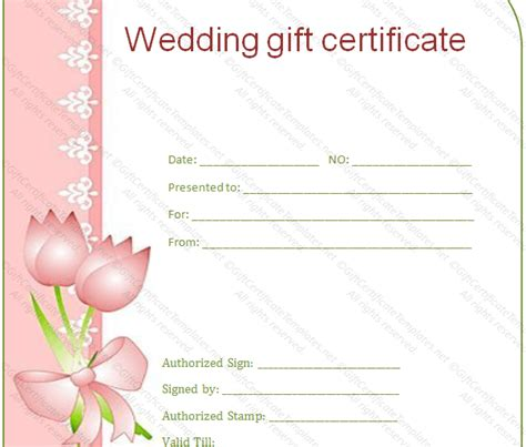 wedding gift certificate template wedding gift certificate gift certificate templates
