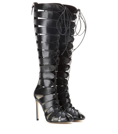 francesco russo cut out leather boots in black lyst