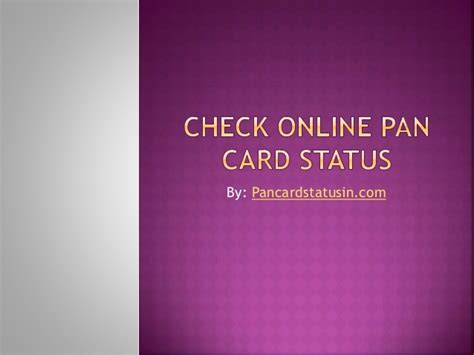 Status Search Pan Card Status Check