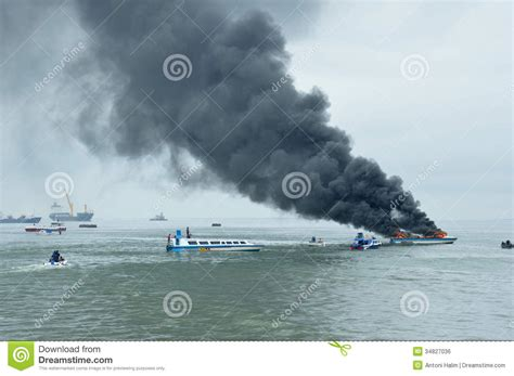 speed boat indonesia speed boat on fire in tarakan indonesia editorial photo