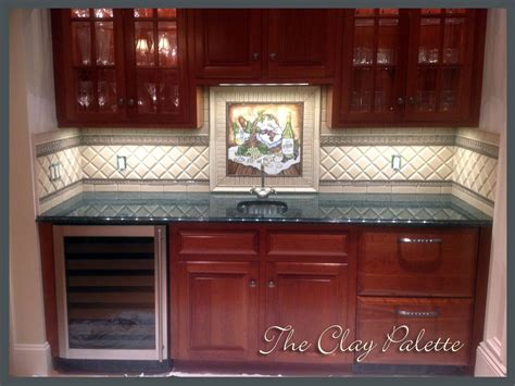 hand painted tiles for kitchen backsplash hand crafted hand painted chardonnay tile backsplash by