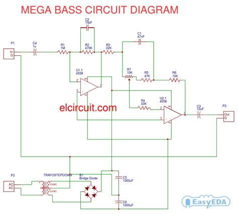 4558 tone circuit diagram mega bass circuit using 4558 electronic circuit