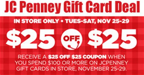 Jcpenney Gift Card Deal - gift card deals jc penney 25 off 25 coupons 4 utah