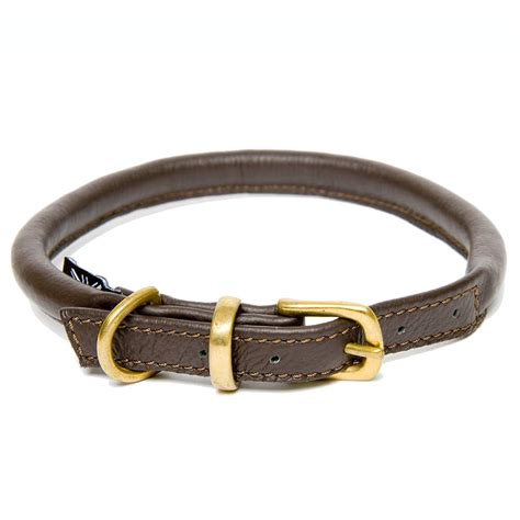 leather collars dogs horses soft rolled leather collar in brown brass