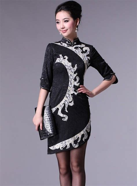 Modern Fashion Cheongsam Black black 3 4 sleeve qipao cheongsam dress qipao
