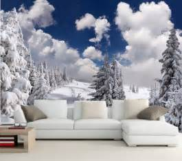 Winter Wall Murals Custom Photo Wallpaper Murals Winter Fir Snow Clouds Trees