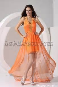 orange halter sweet high low prom dresses under 200