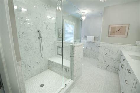 Master Bath Shower Amp Shower Seat Transitional Bathroom Master Bathroom Tub Shower Combo