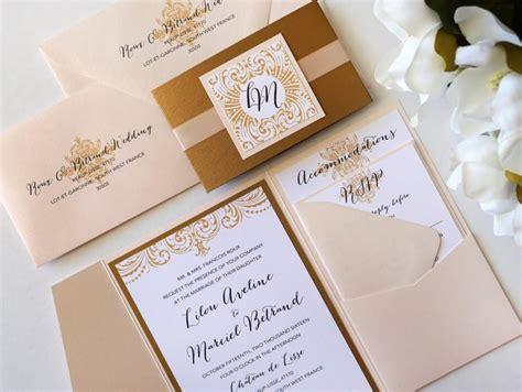 wedding invite folders ornate elegance blush and antique gold pocket folder style