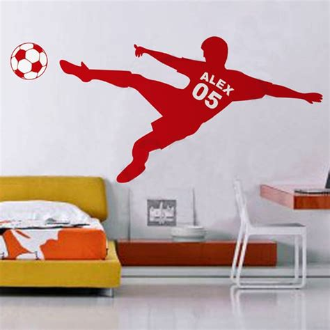 wall poster stickers football soccer personalized name number vinyl wall