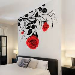 Large Flower Wall Stickers large flower roses vines vinyl wall art stickers wall