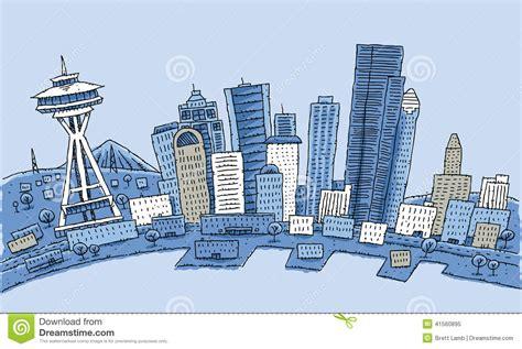 seattle map joke seattlecartoon seattle stock illustration image