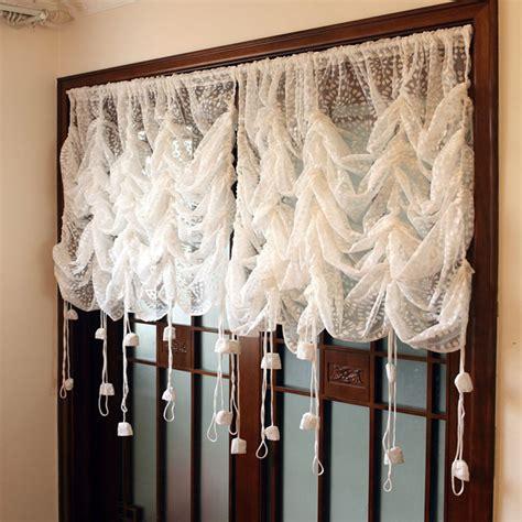 balloon style curtains 1 panel korean style white lace flower translucidus pocket