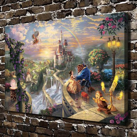 Home And The Beast by H1135 Kinkade And The Beast Hd Canvas Print
