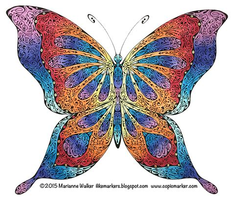 Butterfly Colour i like markers coloring a stylized butterfly
