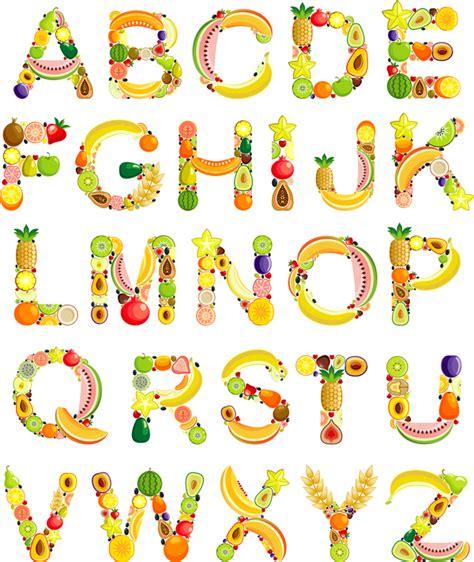 fruit 11 letters fruits alphabets vectors set vector font free