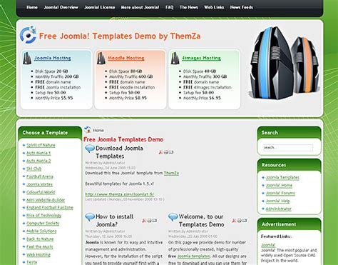 free joomla 1 5 x templates web hosting by themza