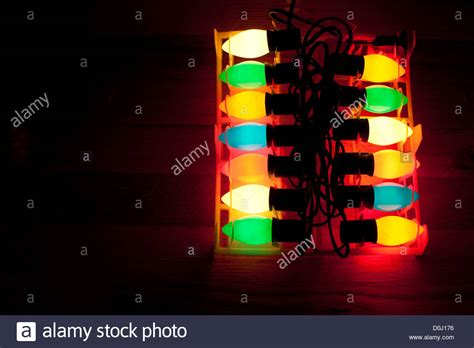 traditional christmas tree lights in a case stock photo