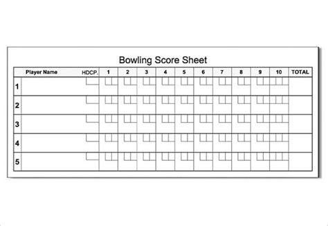 bowls score cards template bowling score sheet template 9 free documents