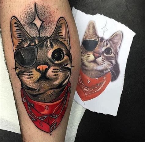 neo trad cat tattoo neo traditional style colored leg tattoo of funny cat with