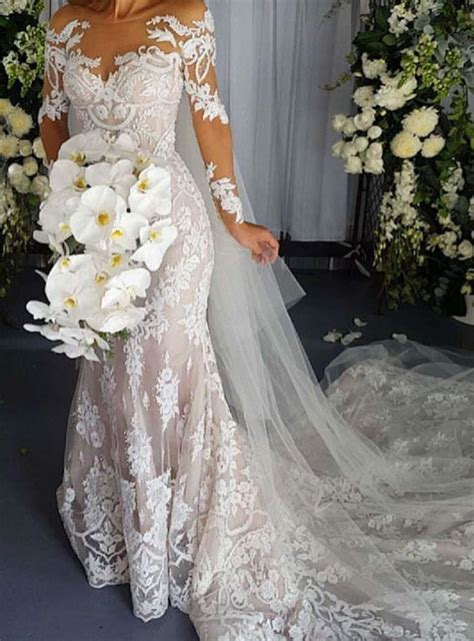 Mermaid Lace Wedding Gown scoop backless sleeves lace mermaid wedding