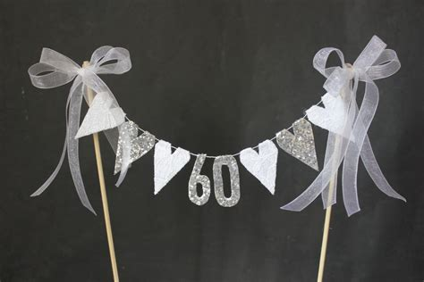 60th Diamond Wedding Anniversary cake topper suitable by