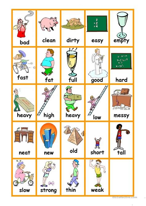 printable opposite cards printable opposite worksheets for kindergarten