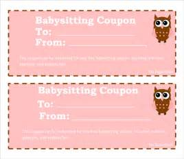 Free Template For Coupons by Sle Babysitting Coupon Template 5 Documents