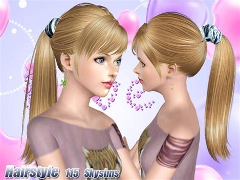 sims 3 high ponytail accessorized high ponytail hairstyle 115 by skysims sims