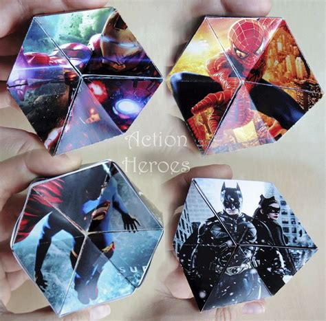 printable heroes instructions make your own kaleidocycle with action heroes