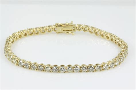 8.30ct Diamond Yellow Gold Tennis Bracelet   First State Auctions
