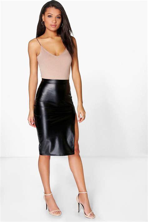 loraya side split leather look midi skirt at boohoo