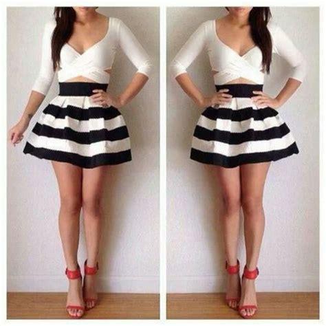 striped high waisted skater skirt russe