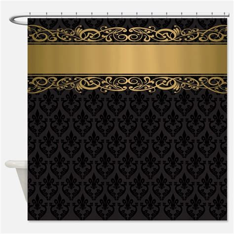 Black And Gold Damask Shower Curtains Black And Gold