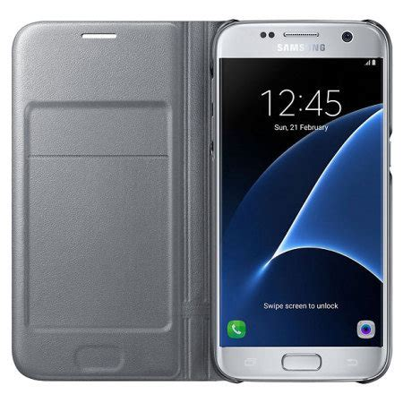 Samsung Galaxy Led Flip Wallet Original original samsung galaxy s7 led flip wallet cover tasche in silber mobilefun de