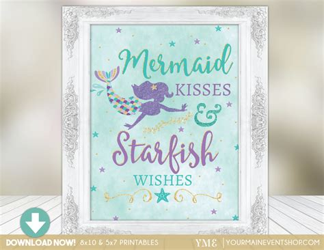 printable birthday cards no sign up mermaid party sign mermaid kisses starfish wishes