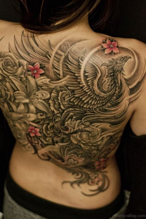 phoenix tattoo with flowers 42 nice black and grey tattoos for back