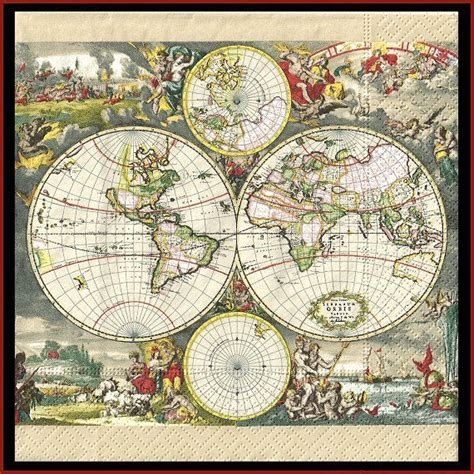 Decoupage World - 4 map of the world paper decoupage napkins use for