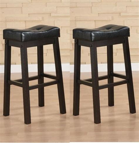 30 Inch Black Leather Bar Stools by Black 30 Inch Bicast Leather Counter Height Saddle Bar