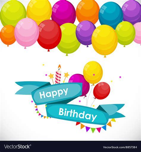 balloon fingerprint birthday card template happy birthday card template with balloons vector image