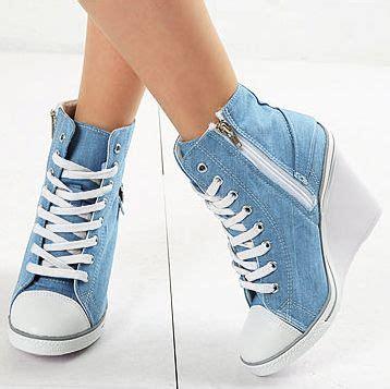wedges boots zipper blue womens light blue denim sneakers zip wedge heel us 5 8
