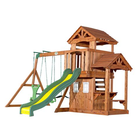 backyard wooden swing set backyard discovery tanglewood all cedar swing set