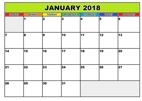 blank calendar template january printable january 2018 templates calendar 2018
