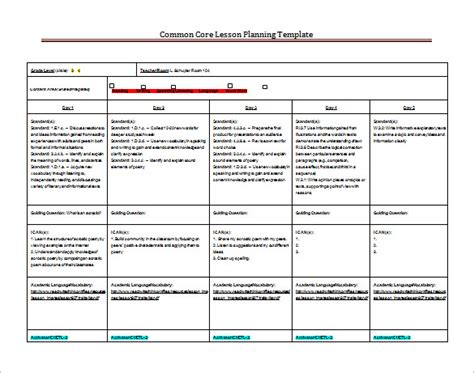 lesson plan templates for common standards 8 lesson plan templates free sle exle format