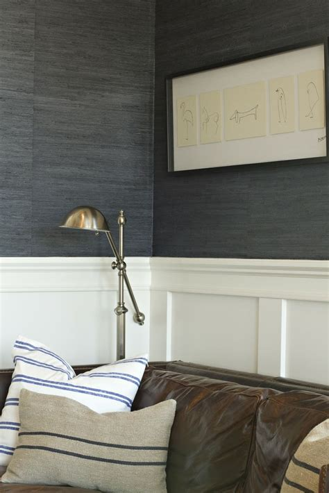 grey wallpaper office navy grasscloth warm brass leather home remodel ideas