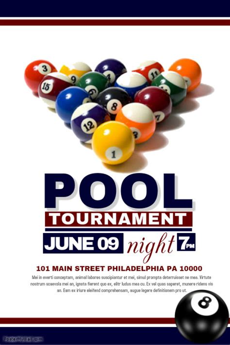 free pool flyer templates pool tournament template postermywall