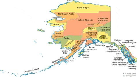 map of alaskan cities alaska county map with county