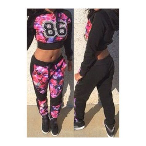Stelan Lyra Jogger Black A2579 rotita floral crop hoodie and joggers set 19 liked on polyvore featuring tops and